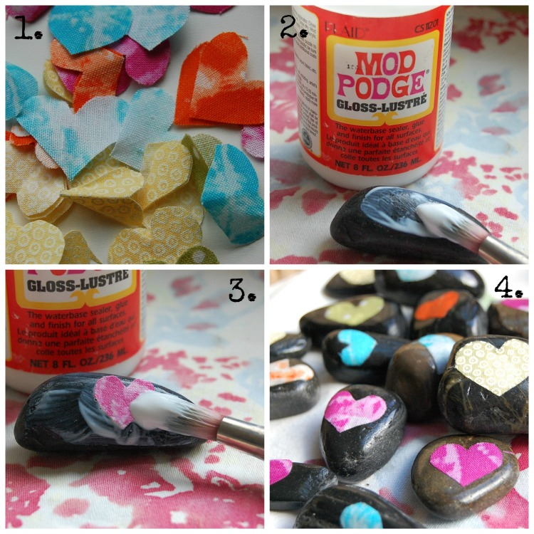 1. Cut fabric hearts 2. Paint mod podge onto top of rock. 3. Place heart on rock and paint mod podge over entire top of rock including fabric 4. Share Love and Joy!