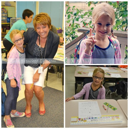 Anna and Mrs. Wilson on the first day of school. Anna loved being at school and loved her teacher.