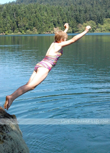 Abigail jumping without hesitation.